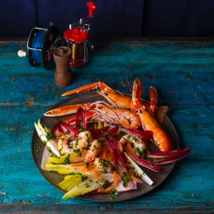 A salad of langoustine with chicory and endive.