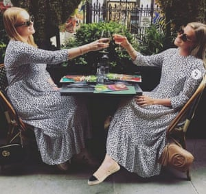Double take … Jessica Eve Nilson found herself lunching with a friend in the same dress.