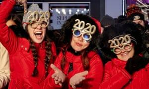 Revelers celebrate New Year's Eve in New York.