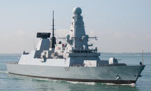 The Royal Navy warship HMS Duncan (D37) a Type 45 destroyer approaching Portsmouth harbour, UK.