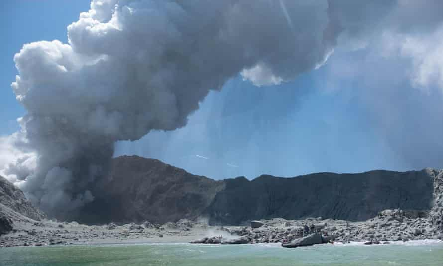 The volcano on New Zealand's White Island spewing steam and ash minutes after the eruption