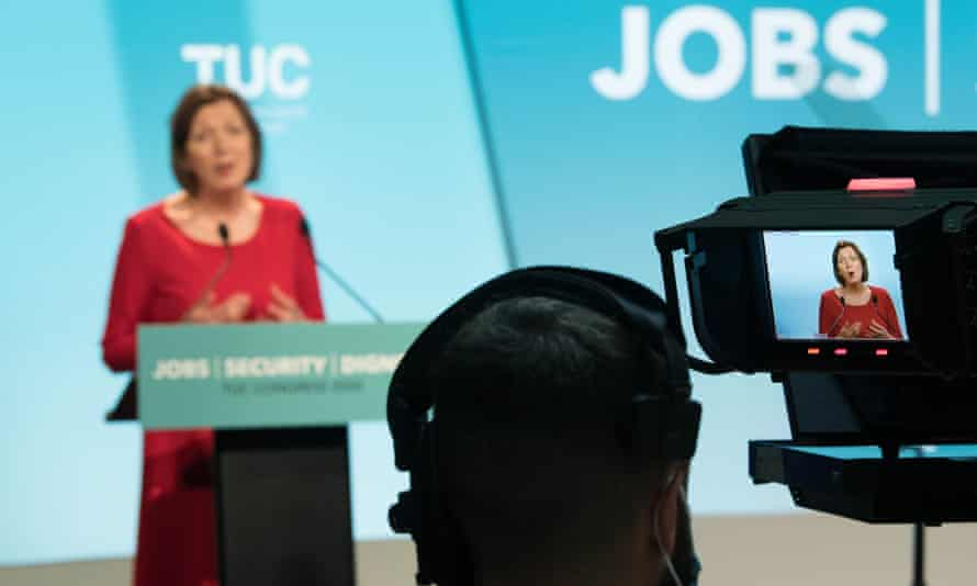 Frances O'Grady, General Secretary of the TUC speaking at the TUC's 2020 congress in London.
