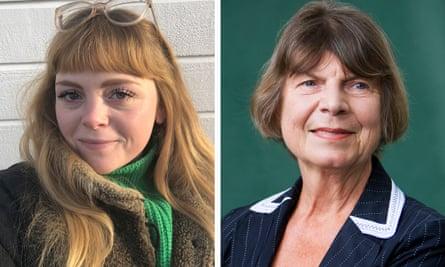 Megan Nolan, left, and Margaret Drabble.