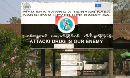 A sign put up by the ethnic Kachin anti-drug vigilante movement Pat Jasan is seen in northern Myanmar's Kachin state.