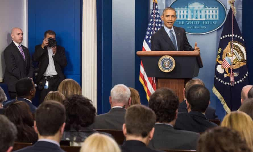 Barack Obama gives his final press conference in Washington on Wednesday.