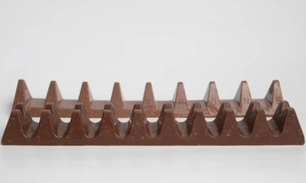 A Toblerone bar sits alongside a chocolate bar called Twin Peaks