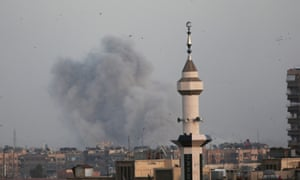 Smoke billows from Yarmouk Palestinian camp in southern Damascus after the attack.