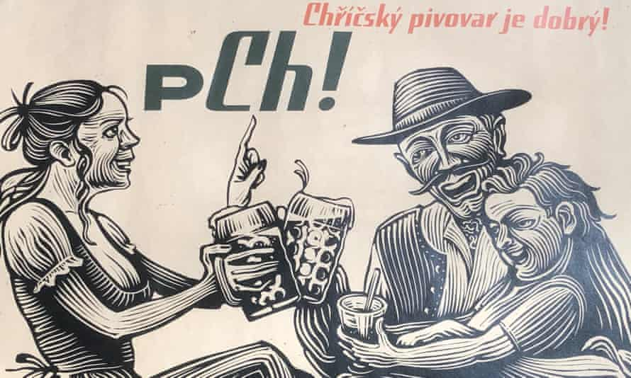 A promotional poster for the Chříč Brewery reads, in Czech, Chric Brewery Is Good.