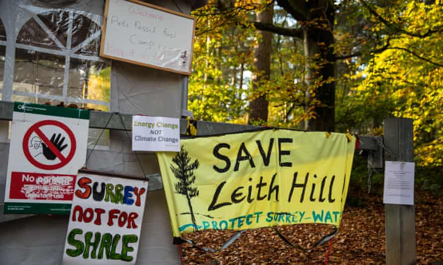 Leith Hill, near Holmwood in Surrey. Activists are protesting against plans by Europa Oil and Gas to drill and test for oil in Bury Hill Wood.