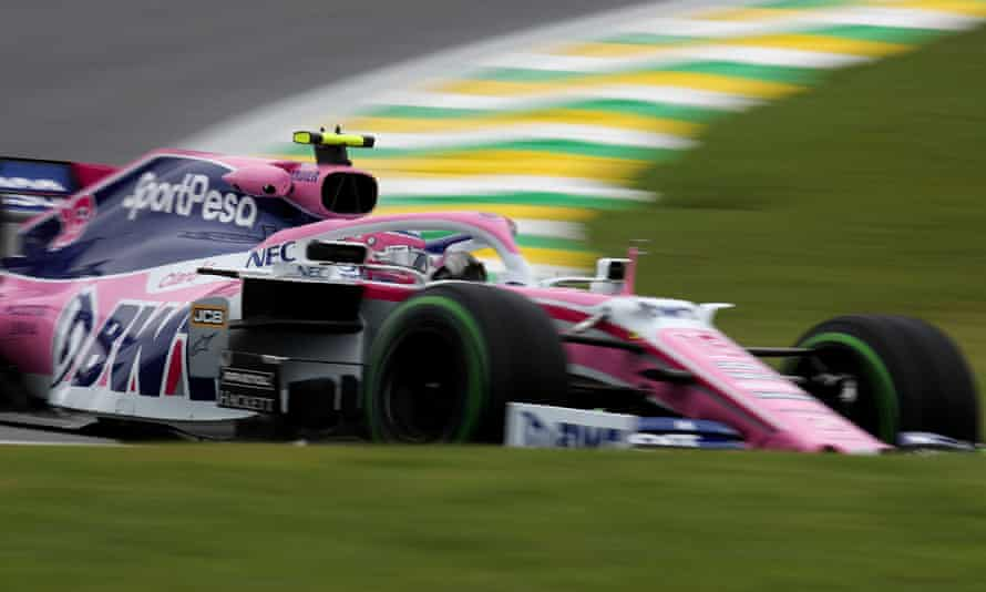 Racing Point's Lance Stroll during practice in Brazil