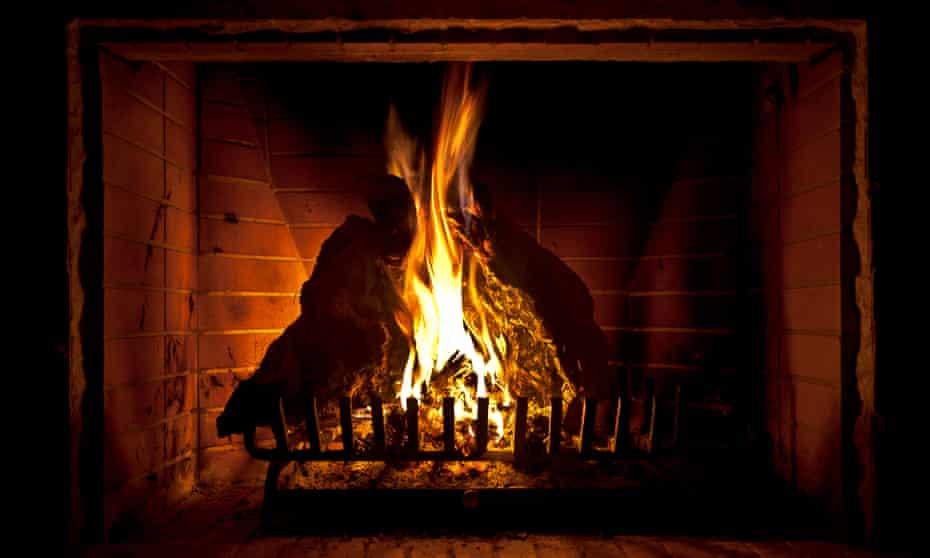 An open log fire
