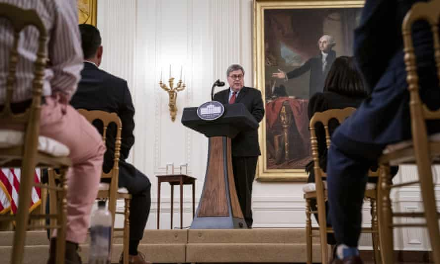 William Barr delivers remarks on the operation in the East Room of White House on Wednesday.