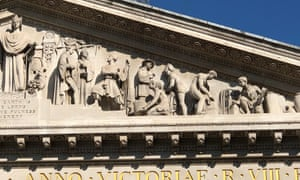 The pediment of the Royal Exchange in the City of London, which features an enslaved African man kneeling.
