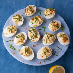 Crab-stuffed devilled eggs from heart of the artichoke by David Tanis. The Observer Food Monthly 20 best egg recipes.