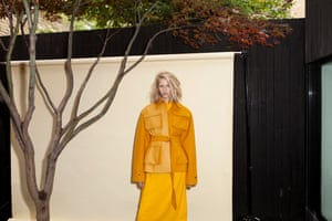 yellow jacket with belt, yelow dress Celine