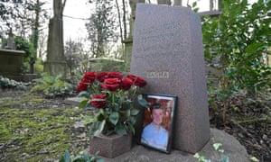 The grave of murdered  Alexander Litvinenko at Highgate cemetery in London