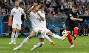 Ante Rebic of Croatia has a pop but it doesn't cause Jordan Pickford any problems.