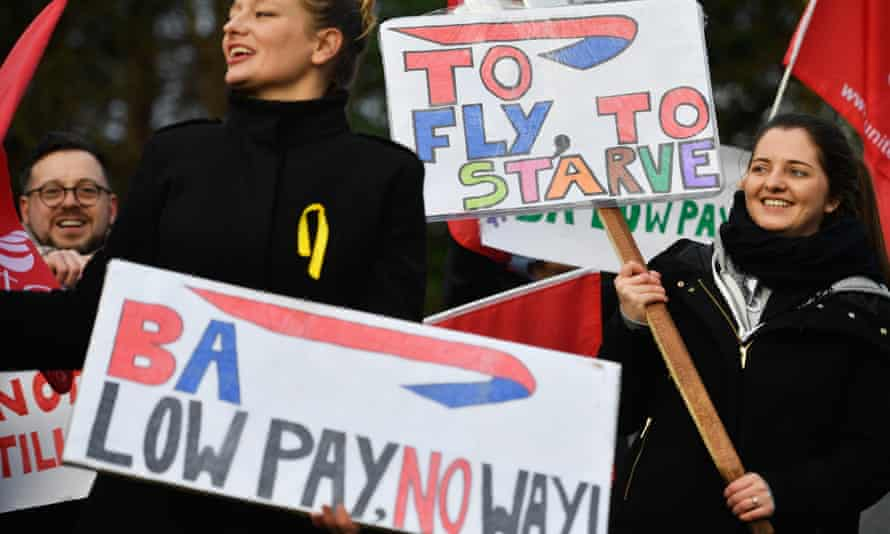 British Airways cabin crew demonstrate over pay at Glasgow airport on 10 January.
