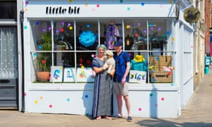Polly Donger outside her Margate shop, Little Bit, with Jim Biddulph and Dude the dog
