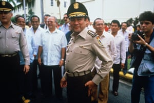Noriega at a ceremony commemorating the death of the national hero, Omar Torrijos, in Panama City
