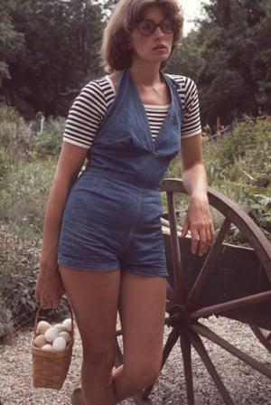 Martha Stewart feeds the ducks in Westport, Connecticut, 1976.