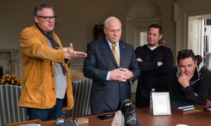 Adam McKay (left) directs Christian Bale as Dick Cheney on the set of Vice