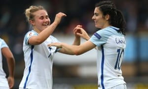 Izzy Christiansen congratulates Karen Carney after the Chelsea forward completed her hat-trick against Serbia at Wycombe Wanderers.