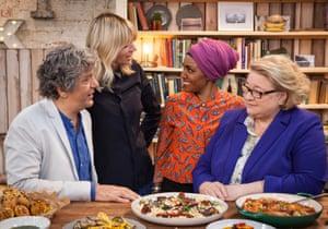Giorgio Locatelli, Zoe Ball, Nadiya Hussain and Rosemary Shrager in The Big Family Cooking Showdown.