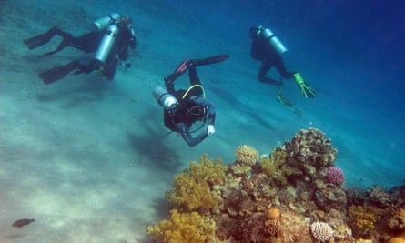 Divers in the Red Sea, Dahab.