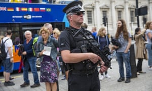 Armed police officer in Whitehall on August 4, 2016