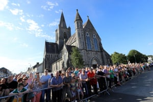 Supporters line the street during Shane Lowry's  homecoming event
