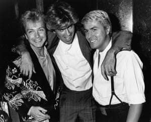 David Cassidy, George Michael and Mike Nolan, at the premiere of the film Number One, in London, April 1985