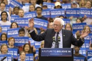 Bernie Sanders speaks at a rally at Penn State.