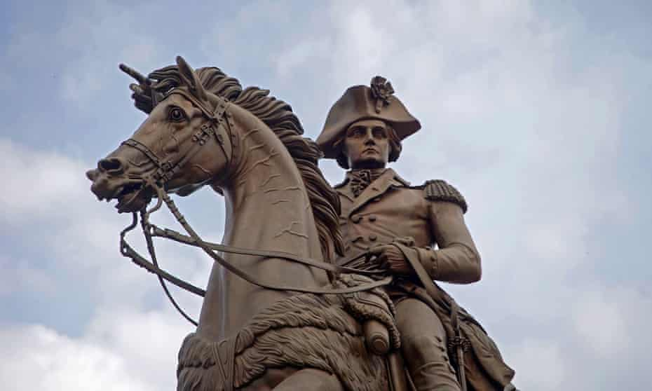 A statue of George Washington on a horse is pictured outside the Virginia State Capitol in Richmond.