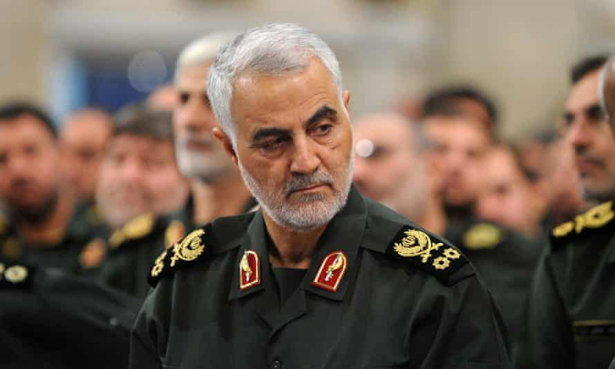 The Iranian Quds force commander Qassem Suleimani in 2016 at a meeting between supreme leader Ayatollah Ali Khamenei and members of the Iranian Revolutionary Guards Corps in Tehran.