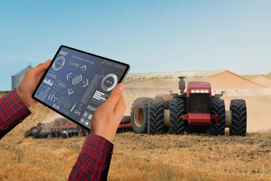 Future farming … an autonomous tractor controlled by tablet.