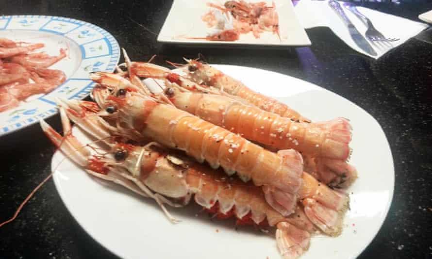 Plate of prawns at Bar-Cafeteria Express, Almeria, Spain.