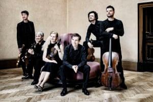 The Pavel Haas Quartet with Boris Giltburg, centre, and Pavel Nikl, far left.