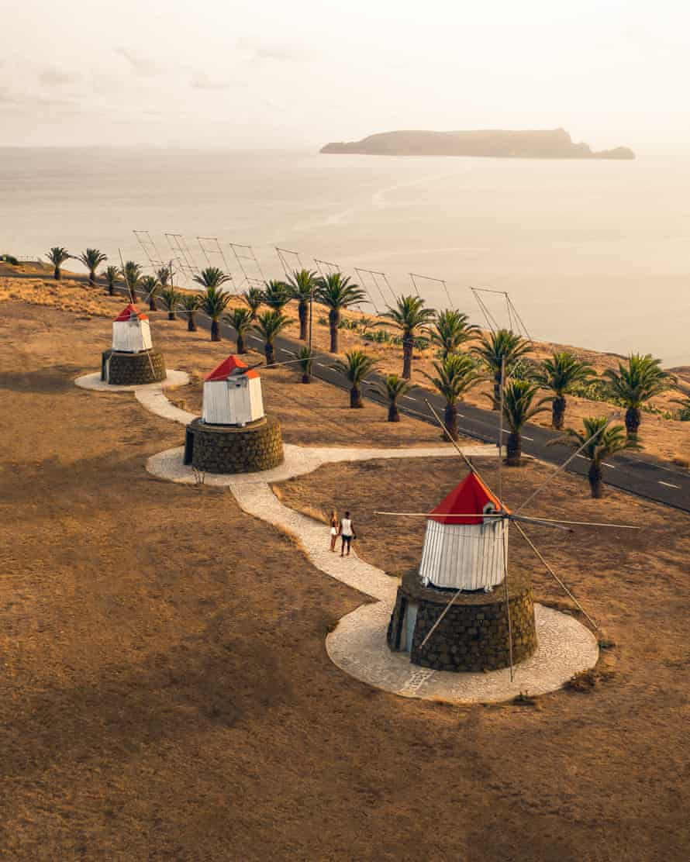 Drone View Windmills Sunset (Porto Santo)