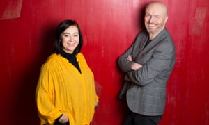 'I find putting characters in a single room almost unbearably cruel' … Mark Ravenhill, right, with Vicky Featherstone at the Royal Court.