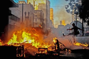 Demonstrators block the main streets of São Paulo during protests against President Michel Temer