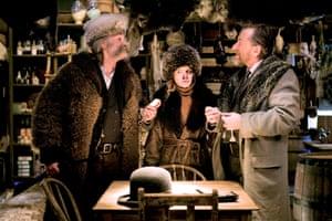 Kurt Russell, Jennifer Jason Leigh and Tim Roth in The Hateful Eight