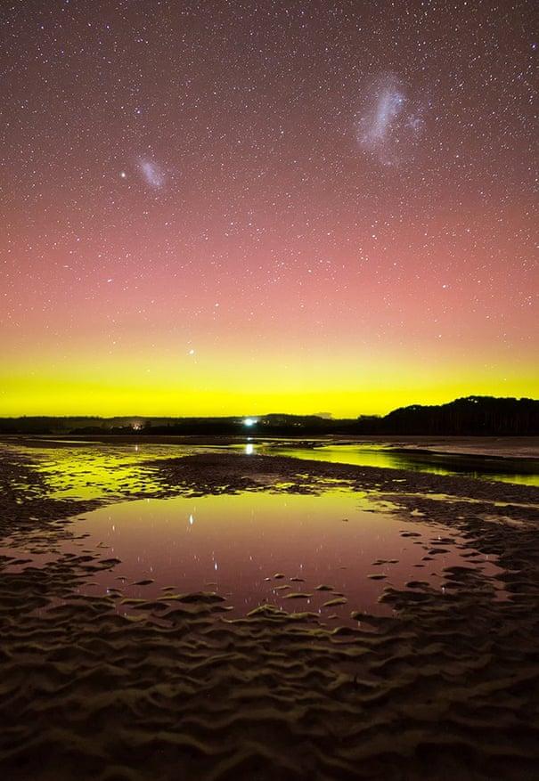 Huge naked-eye beams': spectacular aurora australis lights up the