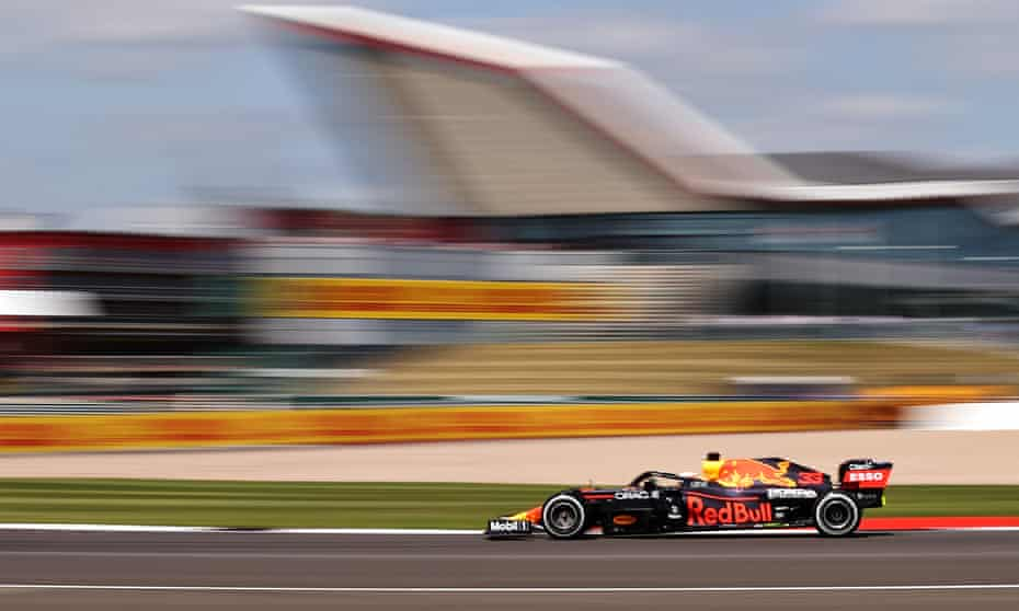 Max Verstappen during practice at Silverstone – he goes into Sunday's race with a 32-point advantage in the drivers' championship.