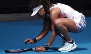 Naomi Osaka has a close encounter with an insect at the Australian Open.