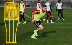 John Lundstram of Sheffield Utd takes part in pre weekend training at the Shirecliffe Training Ground, Sheffield.