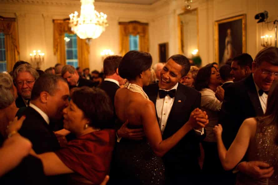 Barack and Michelle Obama dance at the Governors Ball, February 2009