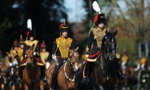 Members of the Kings Troop Royal Horse Artillery ahead of the funeral of Prince Philip