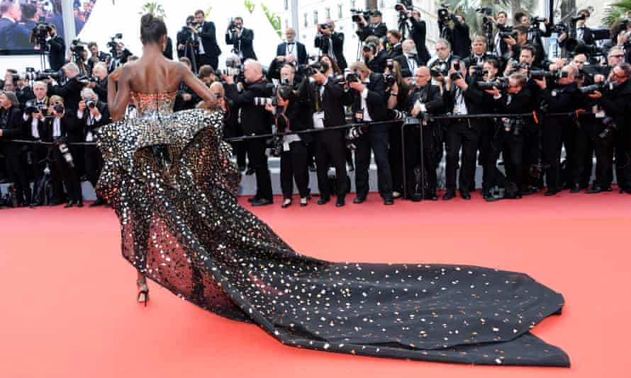 The back of Leomie Anderson's dress.