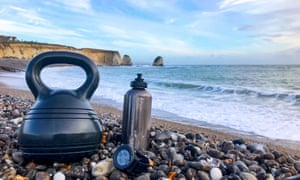 Gym equipment on a beach in the UK, in close up.